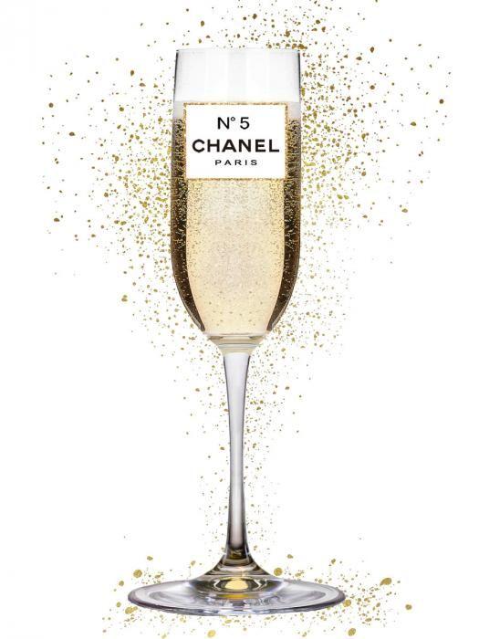 Eten & Drinken Schilderijen: Chanel N 5 Champagne Flue Glas Schilderij 60x80