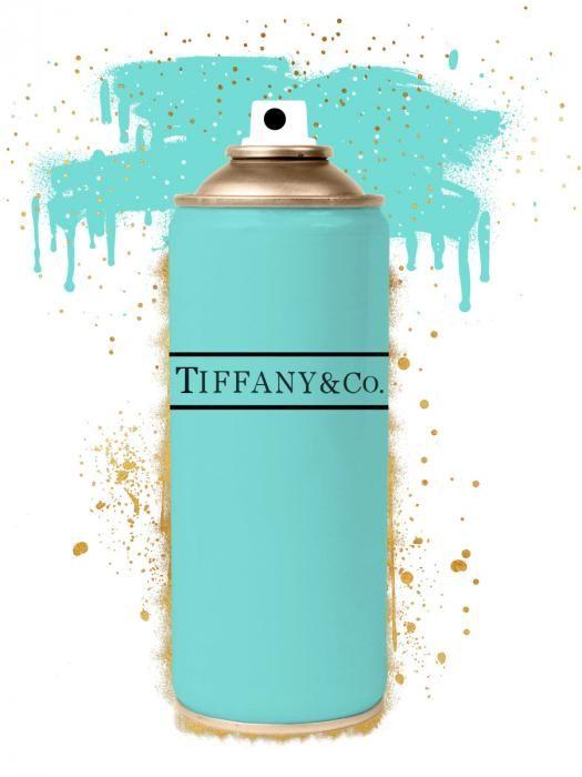 Foto Kunst Schilderijen: Gouden Spray Tiffany Blauw Spuitbus Glas Schilderij 60x80