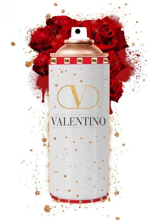 Foto Kunst Schilderijen: Rode Spuitus Valentino Logo Gouden Spray Glas Schilderij 60x80