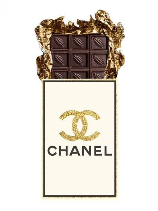 Eten & Drinken Schilderijen: Chanel Logo Chocolade Reep Glas Schilderij 60x80