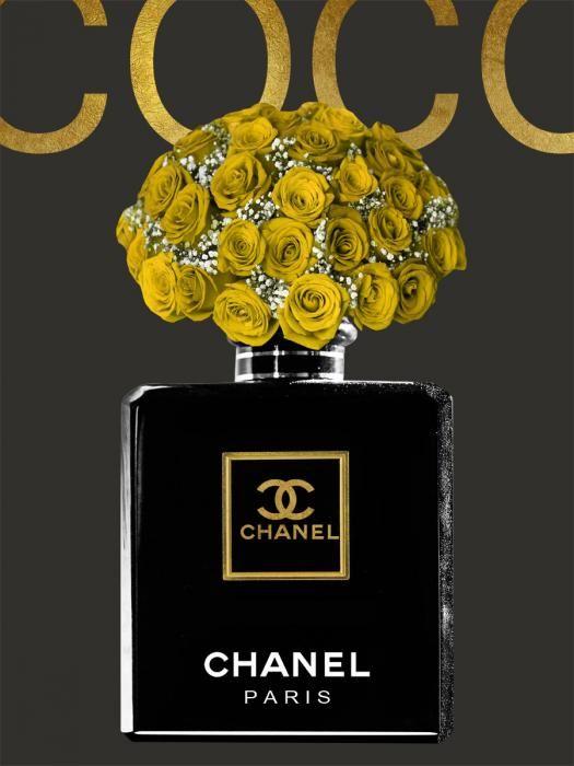Bloemen Schilderijen: Coco Chanel Parfumfles Goudfolie Glas Schilderij 60x80