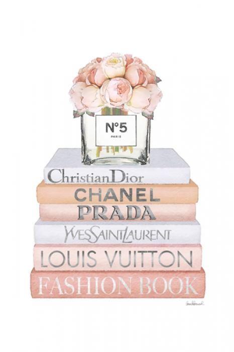 Bloemen Schilderijen: Merk Fashion Books Parfum Yves Saint Laurent Glas Schilderij 60x80