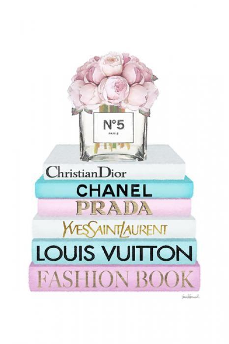 Bloemen Schilderijen: Parfumflesje Bloemen Boeken Merk Prada Fashion Book Glas Schilderij 60x80