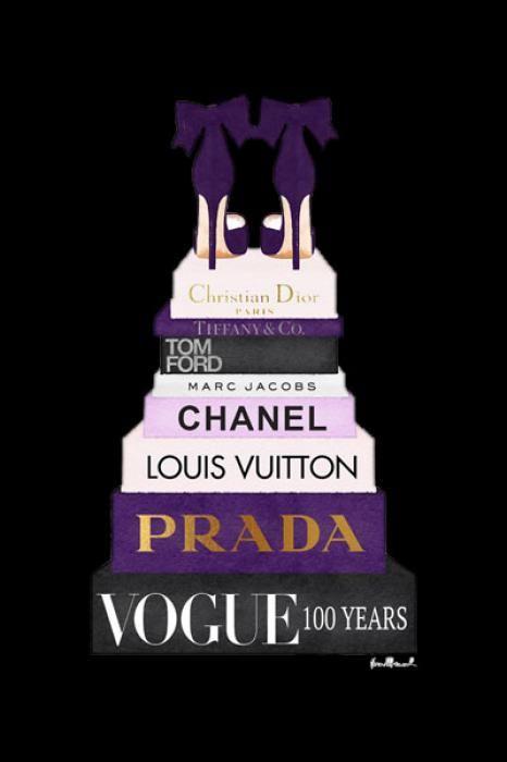 Foto Kunst Schilderijen: Boeken paars Pumps Merken Vogue Prada Glas Schilderij 60x80