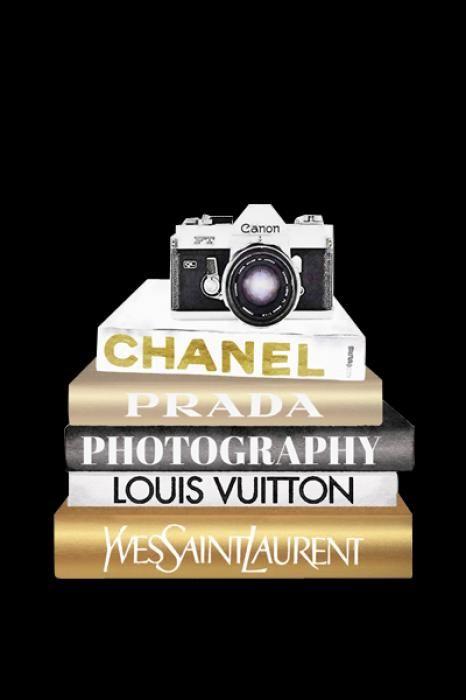 Foto Kunst Schilderijen: Merk Boeken Prada Chanel Louis Vuitton Camera Glas Schilderij 60x80