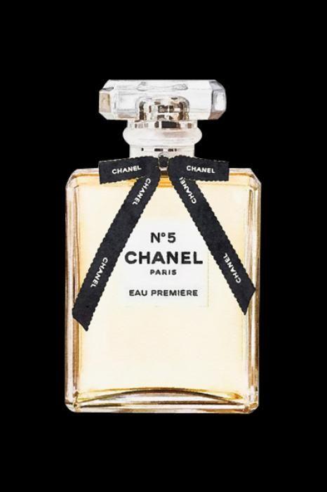 Foto Kunst Schilderijen: Chanel Strikje Logo Parfum Flesje Goudfolie Glas Schilderij 60x80
