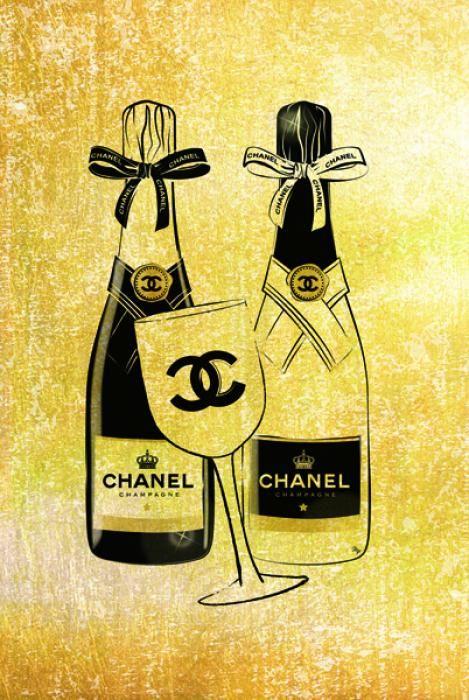 Eten & Drinken Schilderijen: Chanel Logo Flessen Champagne Flûte Goudfolie Glas Schilderij 60x80
