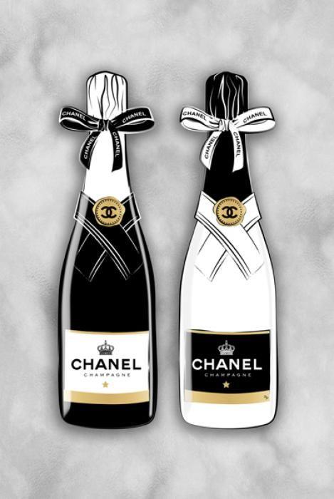 Eten & Drinken Schilderijen: Champagne Flessen Chanel Logo Goudfolie Glas Schilderij 60x80