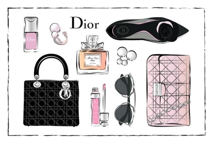 Foto Kunst Schilderijen: Dior Accessoires Roze Zwart Goudfolie Glas Schilderij 80x60