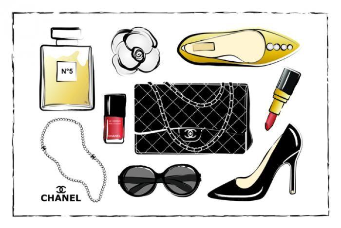 Foto Kunst Schilderijen: Chanel Accessoires Goud Zwart Rood Goudfolie Glas Schilderij 80x60