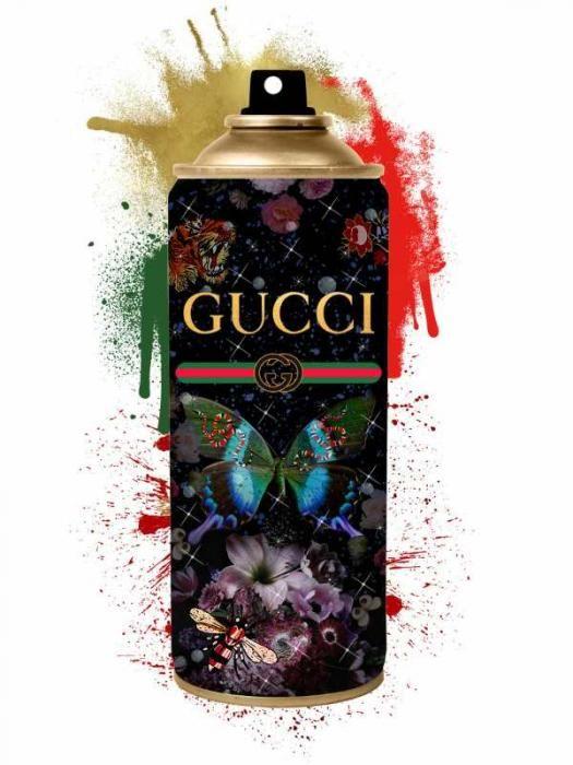 Bloemen Schilderijen: Kleurrijke Spuitbus Gucci Goudfolie Glas Schilderij 60x80