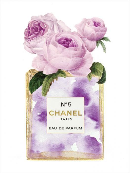 Dieren Schilderijen: Roze Rozen Paarse Chanel Flesje Glas Schilderij Goudfolie Parfum 60x80