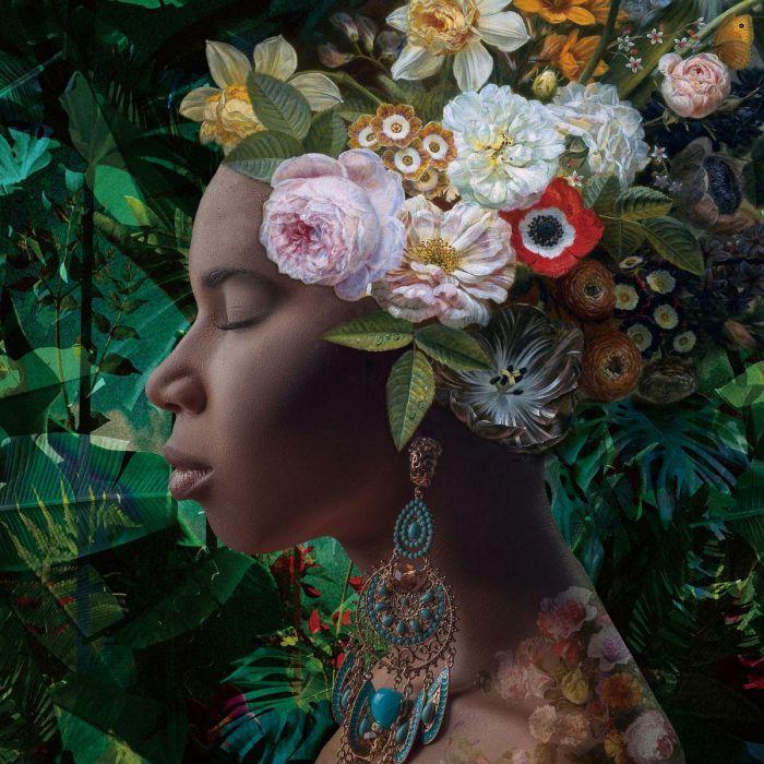 Bloemen Schilderijen: Jungle Botanische Vrouw Bloemen Bohemien Glas Schilderij 80x80