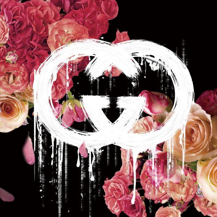 Bloemen Schilderijen: Roze Bloemen Gucci Logo Druipend Effect 80x80
