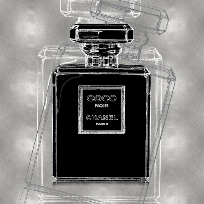 Foto Kunst Schilderijen:  Glas schilderij met metallic coating laag van parfumfles Coco Chanel grijs 80x80