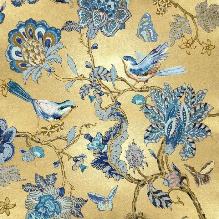 Bloemen Schilderijen: Glas schilderij met metallic coatinglaag van vogels en bloemen 80x80