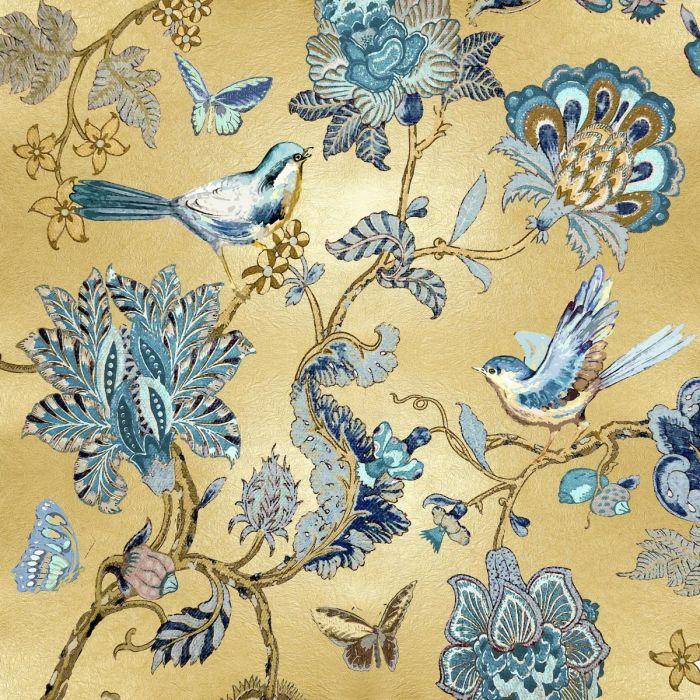 Bloemen Schilderijen: Glas schilderij met metallic coatinglaag van vogels vlinders en  bloemen 80x80