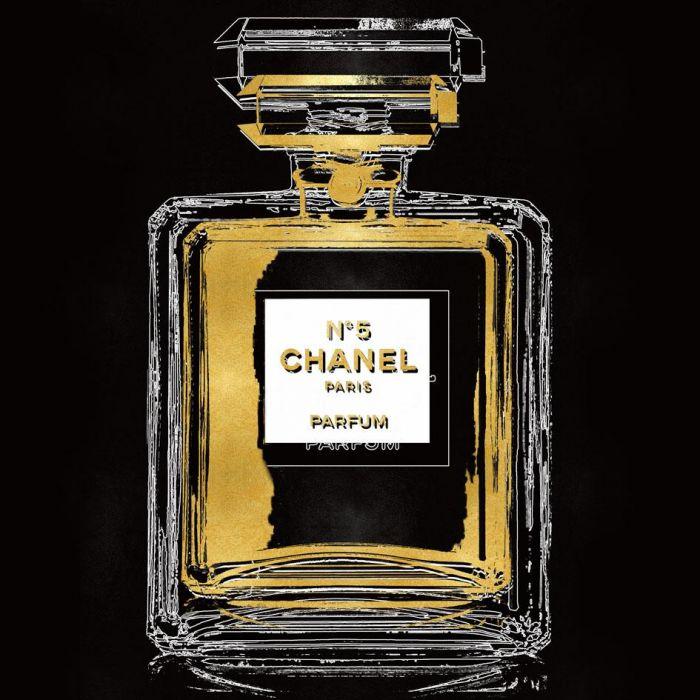 Foto Kunst Schilderijen: Glas Schilderij Chanel Parfumfles Metallic 80x80