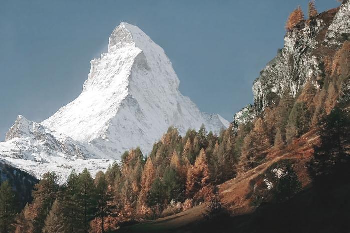 Foto Kunst Schilderijen: Bosrijk Matterhorn Gebergte De Alpen Glas Schilderij 120x80