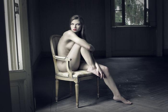 Figuratieve Schilderijen: Vrouw Sexy Naakt Nudist Fotomodel Glas Schilderij