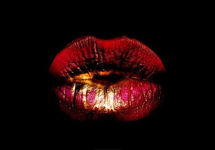 Figuratieve Schilderijen: Rode Gouden Lippen Glas Schilderij 120x80