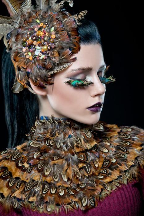 Dieren Schilderijen: Vogel Veren Vrouw Make Up Wimpers Foto Kunst 80x120