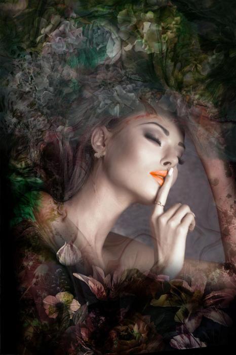 Bloemen Schilderijen: Vrouw Fotomodel Natuur Stilte Bloemen Herfst Glas Schilderij 80x120
