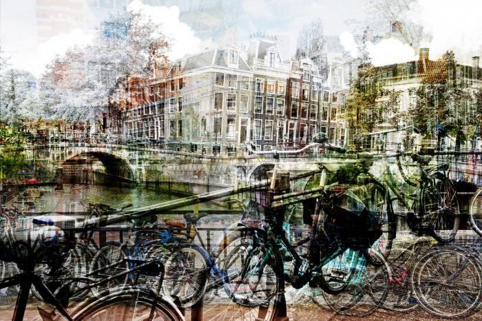 Foto Kunst Schilderijen: Amsterdamse Grachten Fietsen Huizen Bruggen Glas Schilderij 120x80