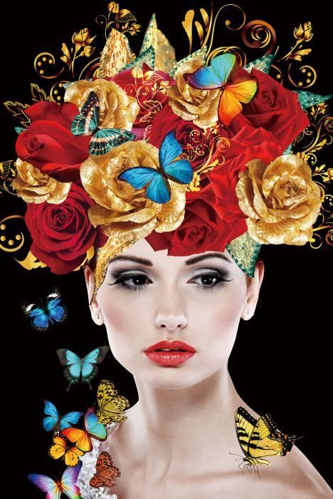 Bloemen Schilderijen: Rode Gouden Rozen Vlinders Vrouw Glas Schilderij 80x120
