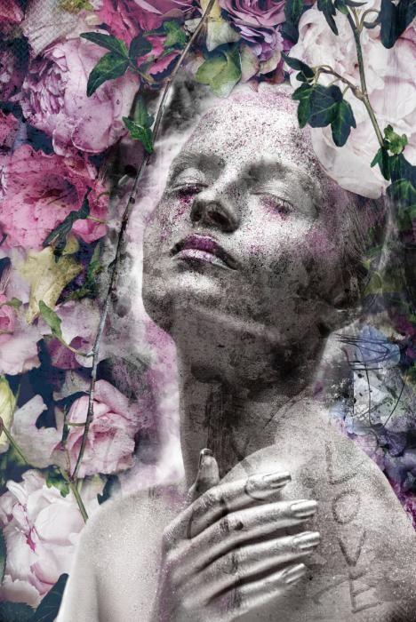 Bloemen Schilderijen: Rozen Vrouw Standbeeld Klassiek Love Glas Schilderij 80x120