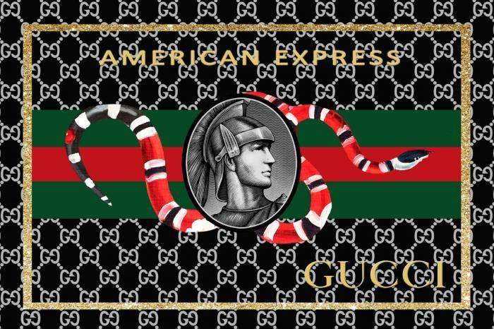 Dieren Schilderijen: Gucci American Express Ridder Koraal Slang Glas Schilderij 120x80
