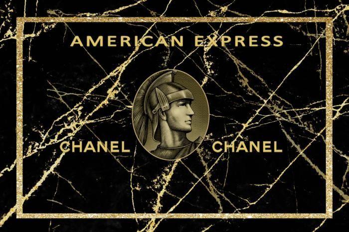 Figuratieve Schilderijen: Marmeren Biljet Ridder Chanel Logo American Express Glas Schilderij 120x80