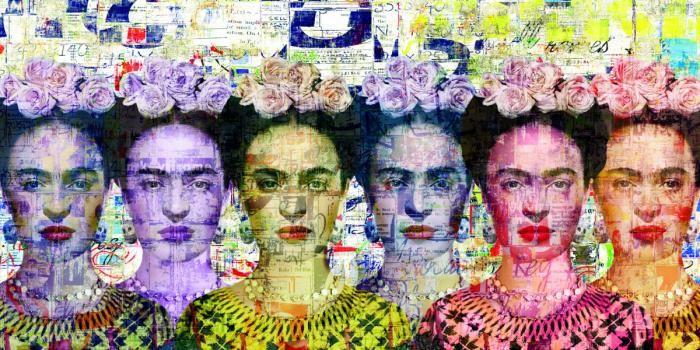 Bloemen Schilderijen: Kleurrijke Frida Kahlo Mexiaanse Kunstenares Glas Schilderij 160x80