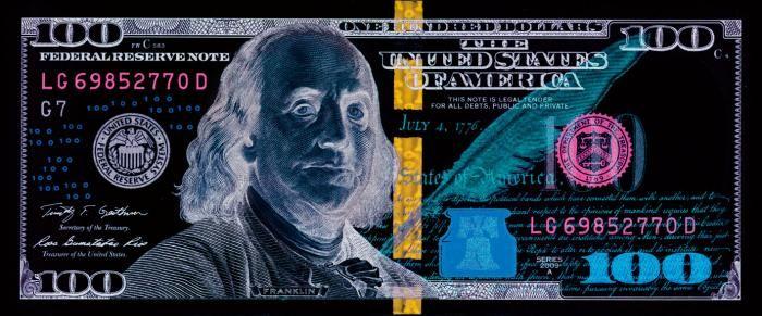 Figuratieve Schilderijen: United States Of America 100 Dollar Biljet Negatief Effect 180x70
