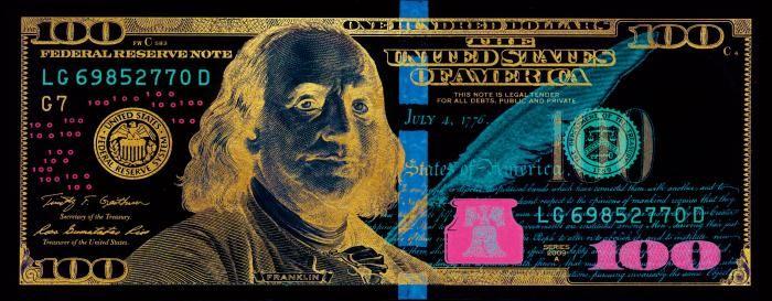 Figuratieve Schilderijen: Sepia Negatief United States Of America 100 Dollar Biljet 180x70