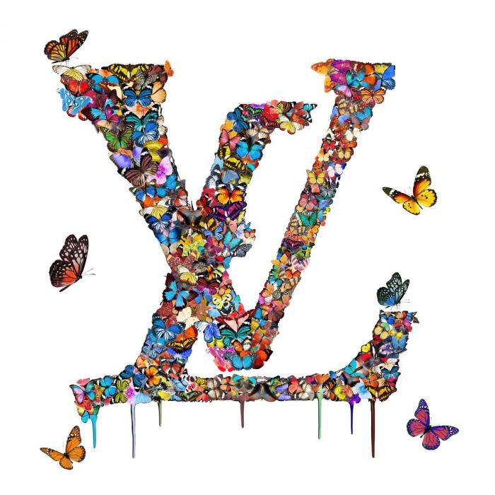 Dieren Schilderijen: Louis Vuitton Glas Schilderij Vlinders 3D 100x100