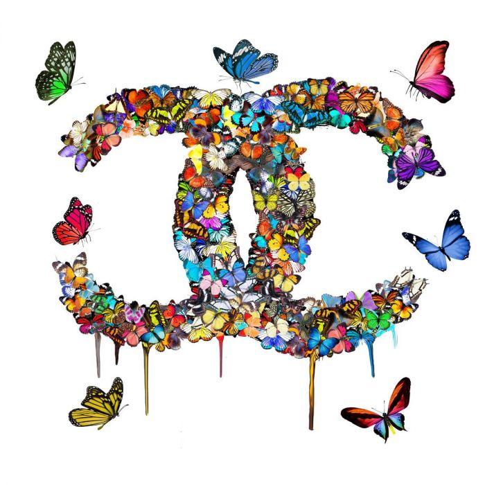 Dieren Schilderijen: Chanel Logo Kleurrijke Vlinders 3D Glas Schilderij 100x100