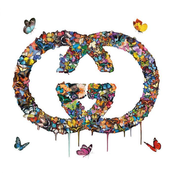 Dieren Schilderijen: Gucci Logo Vlinders Kleurrijk 3D Glas Schilderij 100x100