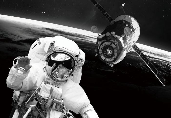 Figuratieve Schilderijen: Glas Schilderij Astronaut Satelliet 160x110