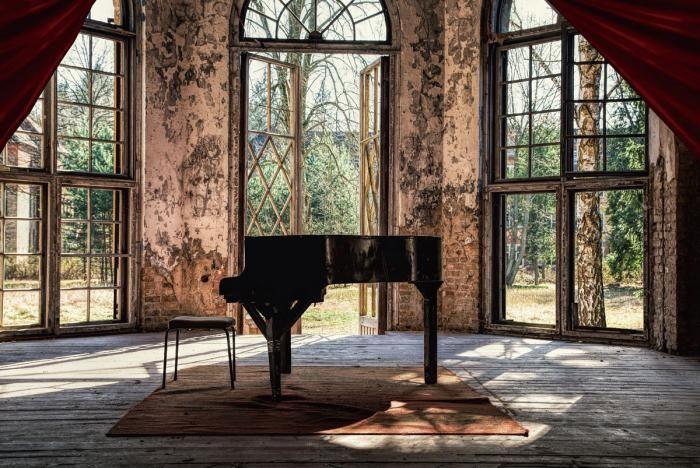 Foto Kunst Schilderijen: Piano Serre Kamer Klassiek Glas Schilderij 160x110