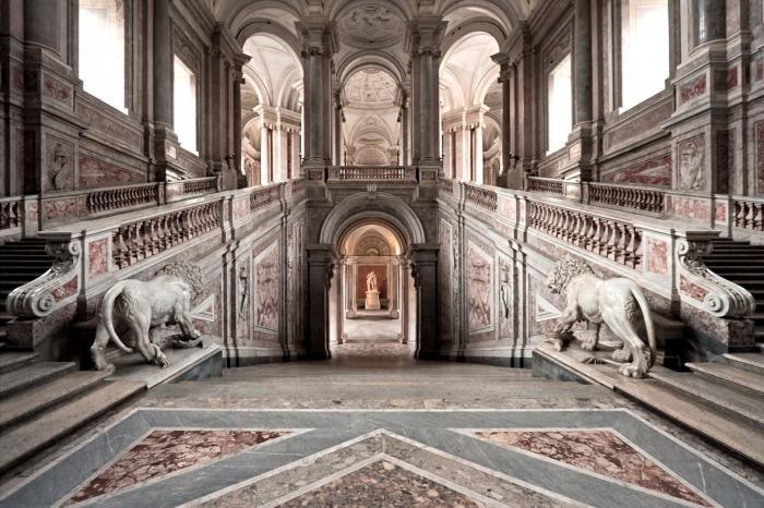 Foto Kunst Schilderijen: Paleis Van Caserta Italie Groot Glas Schilderij 160x110