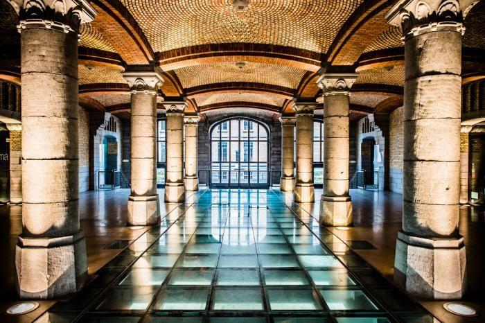 Foto Kunst Schilderijen: Zuilen Klassiek Vloer Glas Groot Glas Schilderij 160x110