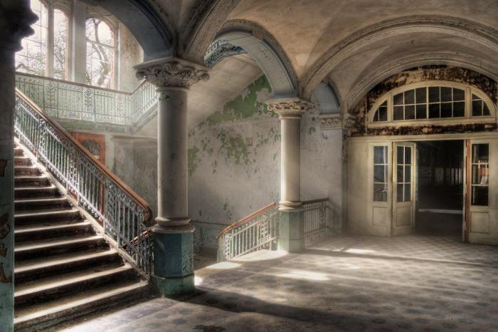 Foto Kunst Schilderijen: Vintage Hallen Trappenhuis Groot Glas Schilderij 160x110