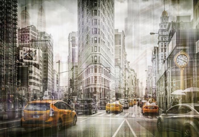 Glas schilderijen: Flat Iron Gebouw New York City Centre Groot Glas Schilderij 160x110