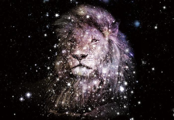 Dieren Schilderijen: Leeuw Sterren Galactisch Ruimte Glas Schilderij 160x110