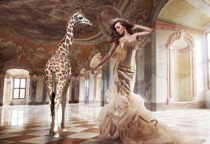 Dieren Schilderijen: Vrouw Gouden Jurk Giraffe Groot Glas Schilderij 160x110