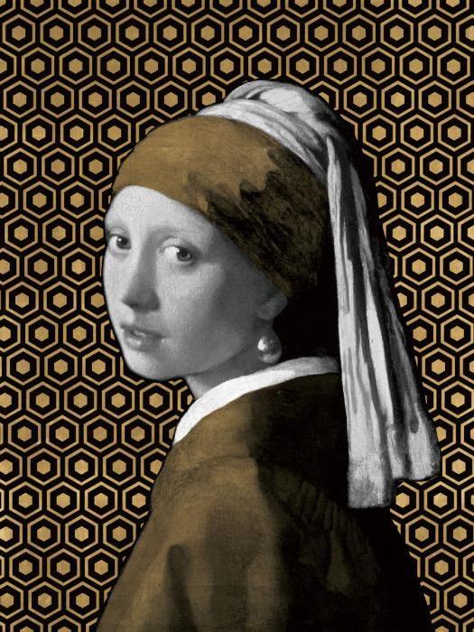 Figuratieve Schilderijen: Groot Glas Schilderij Meisje Met De Parel Met Een Twist