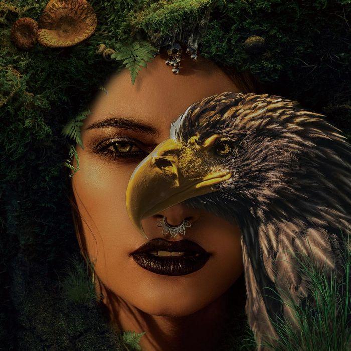 Dieren Schilderijen: Adelaar Natuur Vrouw 3D Glas Schilderij 120x120