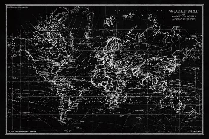 Foto Kunst Schilderijen: Wereld Map Navigatie Routes Glas Schilderij