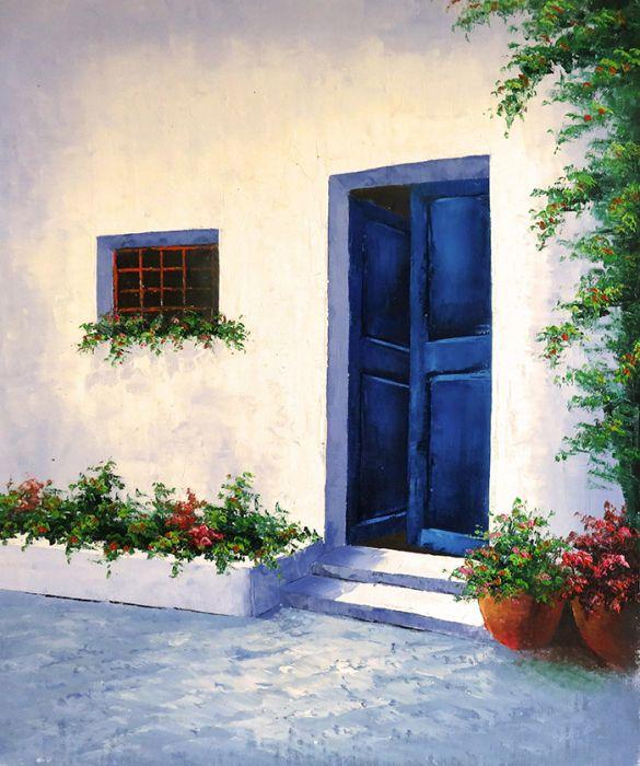 Gebouwen Schilderijen: Griekse Blauwe Deur Schilderij